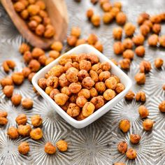 These perfectly seasoned Crunchy Roasted Chickpeas make a great snack or salad topper! They're easy, flavorful & healthy! Vegan, gluten-free, & sugar-free!