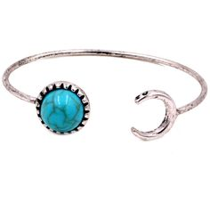 Silver Rain Blue Moon and Crescent Bracelet Cuff With Blue Turquoise... (11.195 CRC) ❤ liked on Polyvore featuring jewelry, bracelets, silver jewelry, blue silver jewelry, silver jewellery, antique silver bangles and adjustable bangle