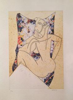 """Manolo Valdés Grabado al Aguafuerte y Collage """"Cubismo como Pretexto 1  2004 64 x 48.6 cm Tirada de 100 ejemplares Numerado y firmado a mano Precio: 2.200 €"""