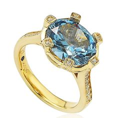 Suzy Levian Sterling Silver Blue Cubic Zirconia Ring (Size 8), Women's, Yellow