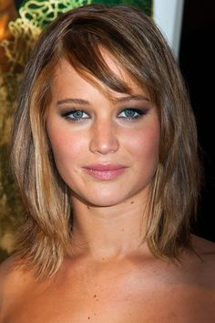 Jennifer Lawrence Hairstyles for Pear-Shaped face