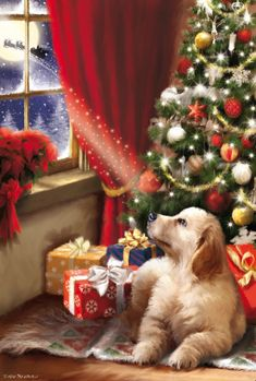 Christmas Scenes, Christmas Animals, Cozy Christmas, Christmas Images, Christmas Holidays, Christmas Crafts, Christmas Decorations, Beautiful Christmas Pictures, Christmas Artwork