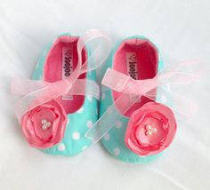 Baby Girl Shoes, Baby Booties, Baby girl slippers. Turquoise and Pink Mary Jane Soft fabric and felt.. £16.99, via Etsy.   http://www.etsy.com/listing/117842447/baby-girl-shoes-baby-booties-baby-girl