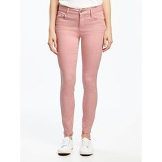 Old Navy Womens Mid Rise Rockstar Pop Color Ankle Jeans ($35) ❤ liked on Polyvore featuring jeans, petite, tea rose, skinny jeans, petite jeans, zipper skinny jeans, super stretch skinny jeans and white stretch skinny jeans