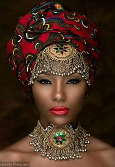 This African American woman looked so cool with the turban and the jewels and I thought she looked very spiritual and wise African Dresses For Women, African Attire, Ghanaian Fashion, African Fashion, Nigerian Fashion, African Style, Ankara Fashion, African Art, African Head Wraps