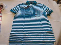 Men's Tommy Hilfiger Polo shirt stripe logo XXL xxlarge 7855284 Power Teal 439  #TommyHilfiger #polo