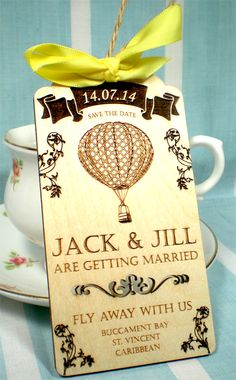 Fly away with us.... Engraved wooden destination wedding save the date tags.