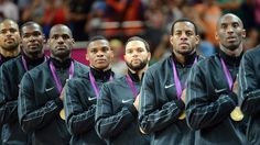 The USA's men's Basketball team during their Victory Ceremony  Gold medallists the United States pose on the podium during the medal ceremony for the Men's Basketball gold medal game between the United States and Spain on Day 16.