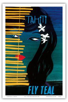 Tahiti Polynesien - Fly Teal (Tasman Empire Airways Limited), Fliege Teal Tasman Empire Fluglinien - Alte Fluggesellschaft Reise Plakat Poster von Arthur Alfred Thompson c.1950s - Kunstdruck - 31cm x 46cm: Amazon.de: Küche & Haushalt