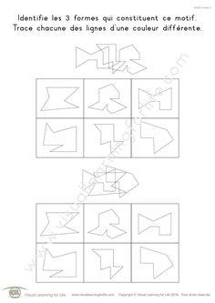 Dans les fiches de travail « Motifs formes » l'élève doit identifier les trois formes constituant un motif.