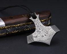 Thor's Hammer Hand Forged Damascus Steel Pendant for men Locket men Accessories gift for him Thors Hammer, Forging Hammer, Damascus Steel, Vikings, Ear Piercings Tragus, Tool Steel, Everyday Carry, Necklace Lengths, Gifts For Him