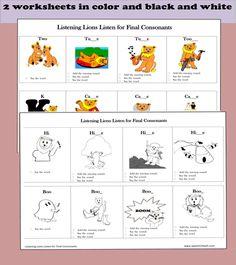 Listening Lions Listen for Final Consonants.http://www.teacherspayteachers.com/Product/Listening-Lions-Listen-for-Final-Consosnants-1232703