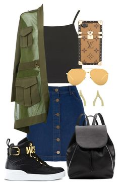 """""""Untitled #118"""" by nikh-papa ❤ liked on Polyvore featuring Jennifer Meyer Jewelry, Topshop, Oasis, Witchery, Balmain, Moschino, Linda Farrow and Louis Vuitton"""