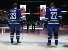 Daniel & Henrik Sedin Swedish hockey players who play for the Vancouver Canucks San Jose Sharks, Vancouver Canucks, Nhl, Henrik Sedin, Sport Icon, Sports Figures, Detroit Red Wings, Hockey Players, Ice Hockey