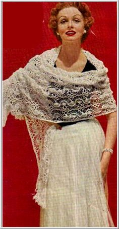 patterns for lacy shawls | Vintage crochet Patterns - women - Shawl / Stole - Hairpin lace stole ...