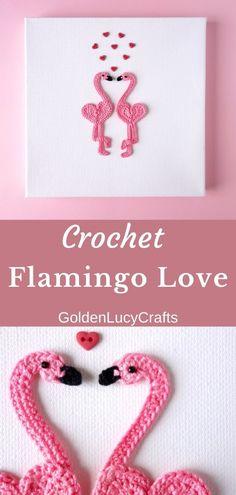 Flamingo Love - Valentine's Day crochet wall art, Valentine's Day decoration, DIY wall art, crochet applique Crochet Flamingo, Crochet Birds, Thread Crochet, Love Crochet, Beautiful Crochet, Crochet Toys, Crochet Hearts, Crochet Animals, Crochet Wall Art