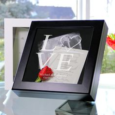 Personalized Love Collection Wedding Wishes Keepsake Shadow Box.