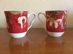 Two (2) 222 Fifth Summer Botanical Fleur Rouge Mugs EUC PTS International #PTSInternational