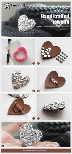 Doesn't have to be a heart or even leather, but this is a simple way to show how we're going to make the chair back broaches. Hand crafted jewelry- diy brooch out of leather and round studs #diybroochcute