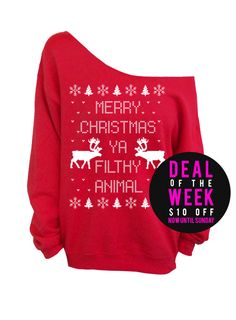 Merry Christmas Ya Filthy Animal- Ugly Christmas Sweater - Red Slouchy Oversized Sweatshirt Deal of the Week - Save $10 off this listing now until