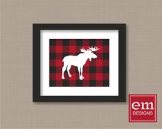 A personal favorite from my Etsy shop… Cabin Christmas, Black Christmas, Christmas Art, Christmas Stuff, Plaid Bedroom, Moose Silhouette, Bear Decor, Lodge Decor, Red And Black Plaid