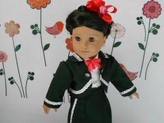 Custom Order Mariachi charra suit traje black gabardine silver trim for American Girl doll 18 in Mariachi Suit, American Girl, Dress Up, Seasons, Dolls, Suits, Disney Princess, Classic, Silver