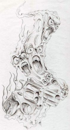 smokin gun by markfellows on DeviantArt Evil Skull Tattoo, Evil Tattoos, Demon Tattoo, Skull Tattoos, Body Art Tattoos, Clown Tattoo, Flame Tattoos, Samurai Tattoo, Tattoo Design Drawings