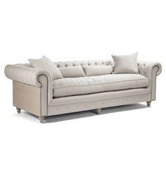 Amazon.com - Alaine English Rolled Arm Gray Linen Chesterfield Sofa -