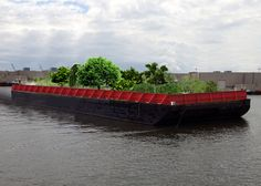 A group of designers and artists in New York has proposed transforming a barge into a floating farm, with berry bushes, lime trees and swaths of lavender