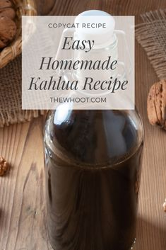 This Easy Homemade Kahlua Recipe is the best ever and is easy and simple to make. It also tastes identical to the real thing. Homemade Baileys, Baileys Recipes, Homemade Liqueur Recipes, Rum Recipes, Cocktail Recipes, Recipies, Kahlua Drinks, Yummy Drinks, Baileys Cocktails