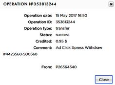 If you are a PASSIVE INCOME SEEKER, then AdClickXpress (Ad Click Xpress) is the best ONLINE OPPORTUNITY for you.I WORK FROM HOME less than 10 minutes and I manage to cover my LOW SALARY INCOME. Here is my Withdrawal Proof from AdClickXpress. I get paid daily and I can withdraw daily. Online income is possible with ACX, who is definitely paying. www.adclickxpress.is/?r=xrcvygnutc2&p=mx