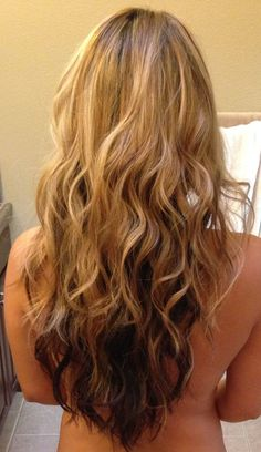 long layered v shaped haircut blonde on top brown underneath | Blonde, natural brown underneath. V-cut with layers. Break up curling ...