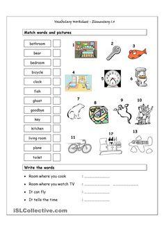Vocabulary Matching Worksheet - Elementary 1.4