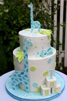 Giraffes Baby Shower Cake