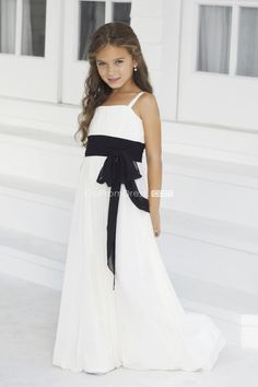 Chiffon Straps Ruffles With Sash Junior Bridesmaid Dress picture 1