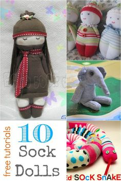 Sock Dolls are a great way to get your feet wet in doll sewing. They are pretty simple, sweet and get well loved by all ages of kids. Enjoy the collection of 10 Sock Doll Patterns: Did you have a favorite sock do Plushie Patterns, Stuffed Toys Patterns, Doll Patterns, Sock Crafts, Sewing Crafts, Sewing Projects, Crafts With Socks, Easy Projects, Sock Dolls