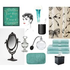 """""""Breakfast at Tiffany's Bathroom"""" by strikeuhpose on Polyvore"""