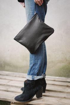 Oversized Clutchevery day black zipper clutch SALE by patkas via etsy