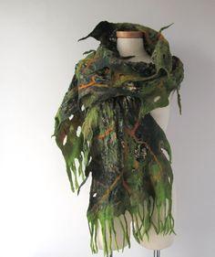 Nuno Felted scarf Green woodland by galafilc on Etsy