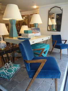 Blue and aqua window display with stunning #geometric #lamps #stool and #armchair vignette at #NYC #Mecox #interiordesign #NewYork #MecoxGardens #furniture #shopping #home #decor #design #room #designidea #vintage #antiques #garden