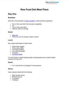 Raw Food Diet Meal Plans / Vegetarian Love to Know