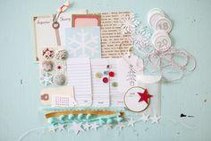 Christmas art journal seen Marcy Penner's website. Light colors for December Daily scrapbooking journal