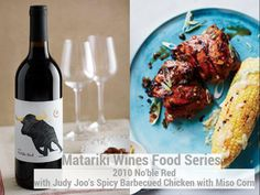 Spicy Barbecued Chicken & Miso Corn with Matariki 2010 Nōble Barbecue Chicken, Tandoori Chicken, Skinless Chicken Thighs, Jamie Oliver, Wine Recipes, Poultry, Wines, Hamburger, Spicy