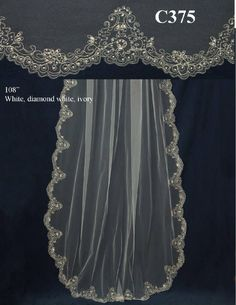Gorgeous Beaded Embroidery Cathedral Length Wedding Veil C375 - sale! - Affordable Elegance Bridal -