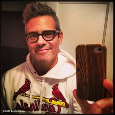 Andy Cohen in his Cardinals gear! Andrew Cohen, Stl Cardinals, Book Tv, Older Men, Mens Glasses, Music Love, Grey Hair, Celebs, Celebrities