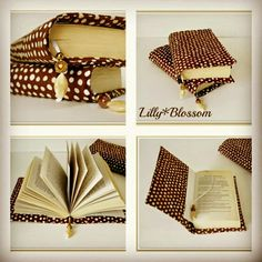 Mocha dot book covers. I love to make book covers and each time I try a new fabric they have a whole new style to them. The fun part is choosing the matching beads for the beaded bookmark which is attached and makes sure you never lose your place.  Helen