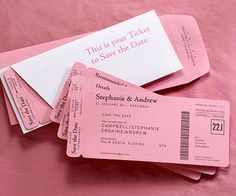 These creative save-the-dates are inspired by plane tickets.