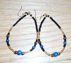 Blue Crystal Beaded Hoops Earrings - Handmade by JaymoJewels