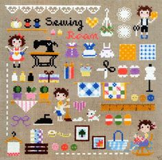 """""""Mini Sewing room"""" Counted cross stitch chart.(pattern leaflet)"""
