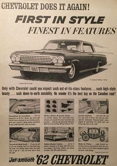 Retro Advertising, Vintage Advertisements, Vintage Ads, 1962 Chevy Impala, Chevy Trucks, 4x4 Trucks, Diesel Trucks, Lifted Trucks, Car Posters